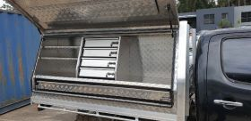 Angle High side fit-outs, tray tool Box - On tray Chequer Plate - with optional drawers