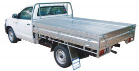 Galvanised Steel tray with Tapered Headboard, mesh window guard, front steps (not dual cab) & tail light protectors